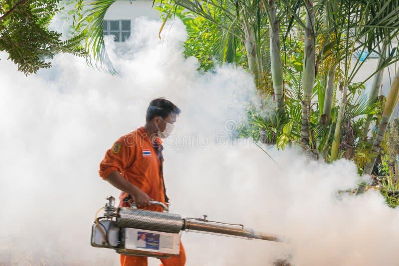 Fogging DDT spray kill mosquito. Bangkok, Thailand - January 31, 2016 : Unidentified people fogging DDT spray kill mosquito for control Malaria, Encephalitis stock images
