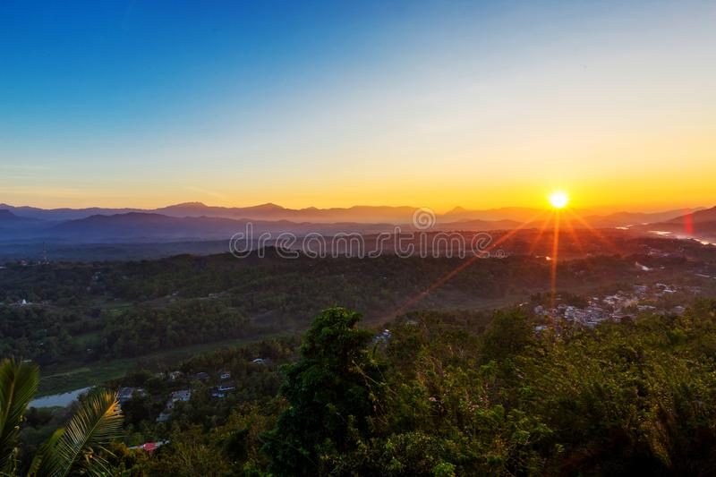 Foggy aerial panorama of Kandy. Sri Lanka at the sunrise, view from the mountain stock image