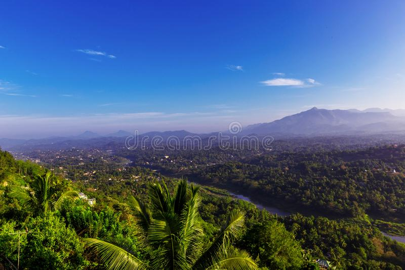 Foggy aerial panorama of Kandy royalty free stock image