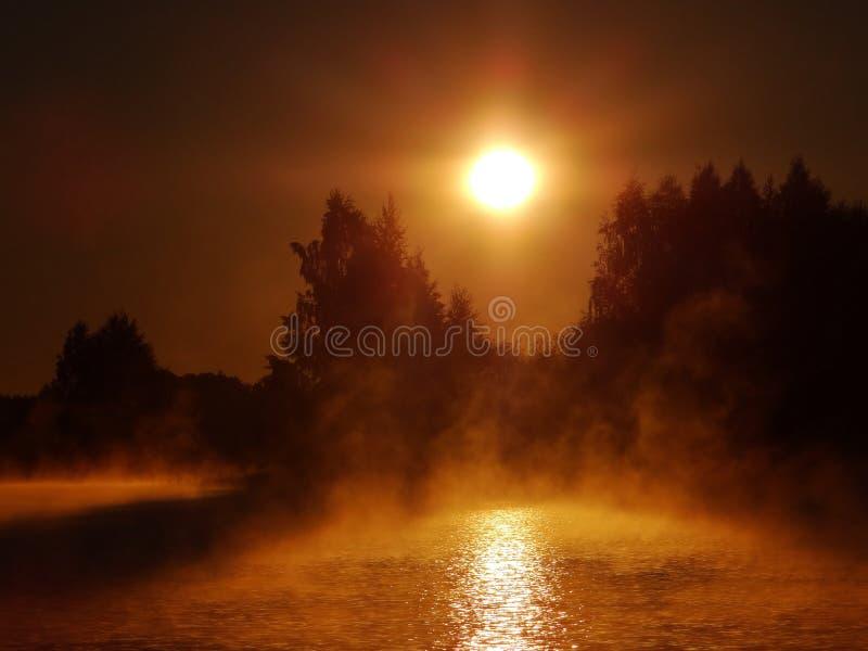 Foggy autumn morning .Lithuania landscape . stock images