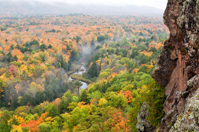 Foggy Autumn Morning at Porcupine Mountains Carp River Valley stock image
