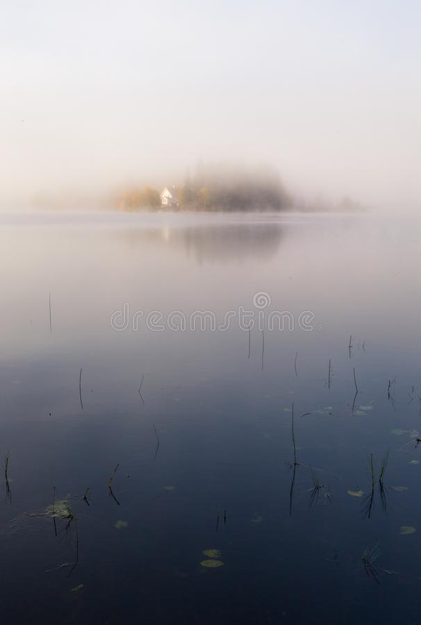 Foggy autumnal morning by the lake. Natural sunrise light. Trondheim area in Norway. Foggy autumnal morning by the lake Jonsvatnet. Natural sunrise light royalty free stock images