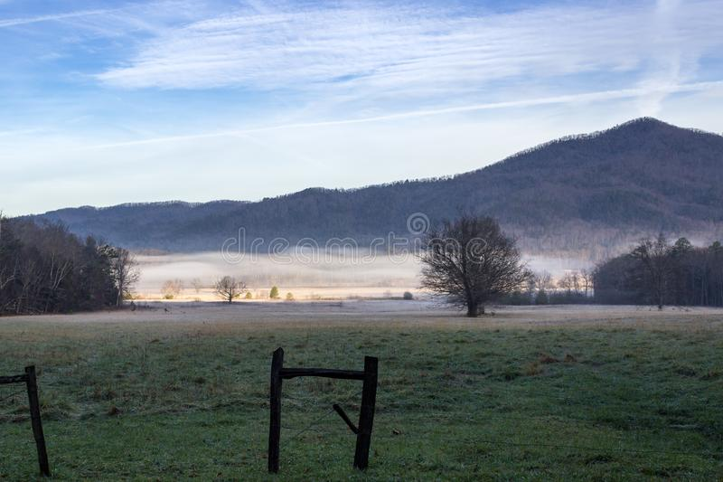 Foggy cades cove morning in great smoky mountains national park royalty free stock photography