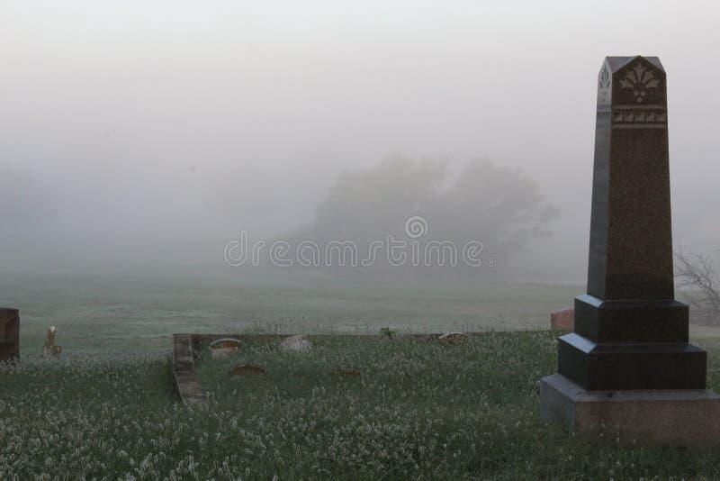 Foggy Cemetery arkivfoton