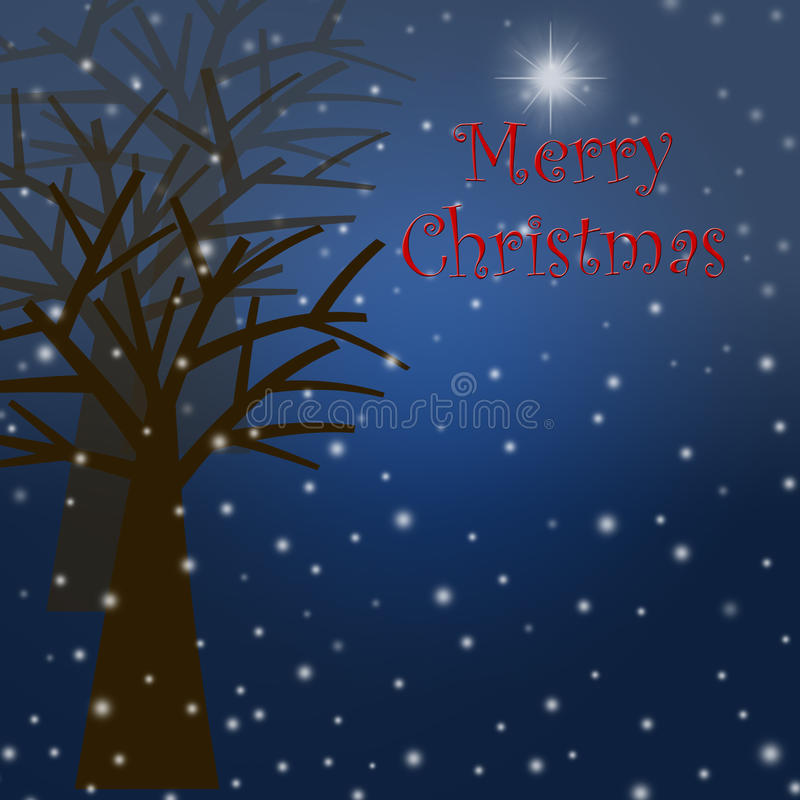 Download Foggy Christmas Winter Tree Scene With Snowflakes Stock Illustration - Illustration of card, holiday: 17406841