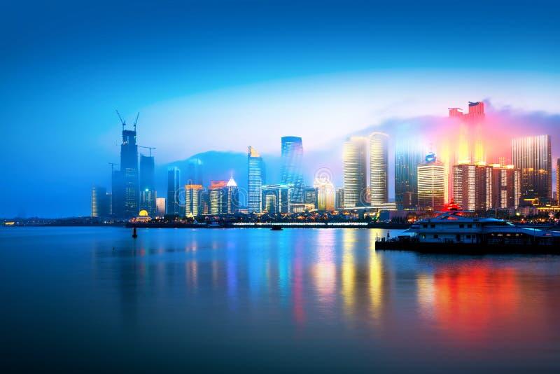 Qingdao city night view of China. Foggy city night view, Qingdao, China royalty free stock image