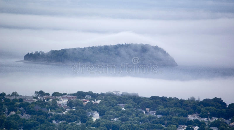 Foggy coastline. In Maine, Usa royalty free stock photo