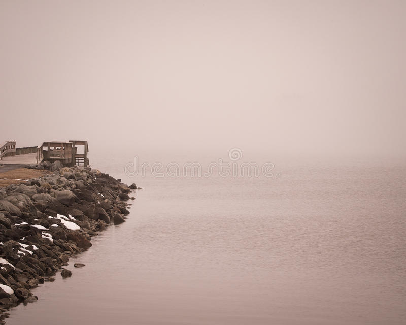 Foggy Day at Charlestown, Maryland Pier royalty free stock photography