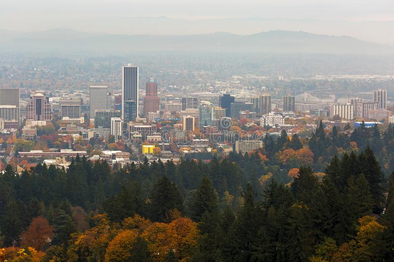 Foggy Fall Day over Downtown Portland Oregon USA. Foggy day over downtown Portland Oregon cityscape during fall season USA America royalty free stock photography