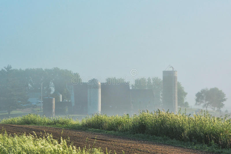 Foggy Farm Site royalty free stock photo