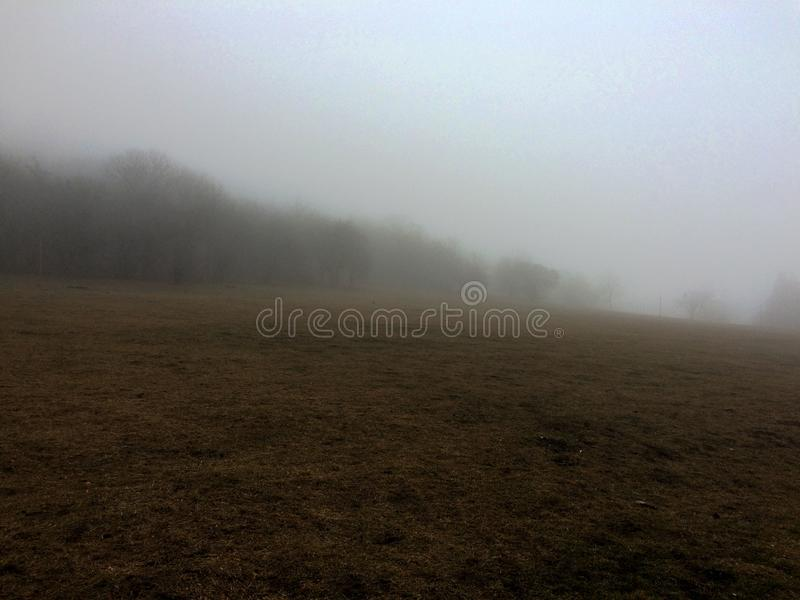 Foggy field in the mountains of the North Caucasus, Russia stock photo