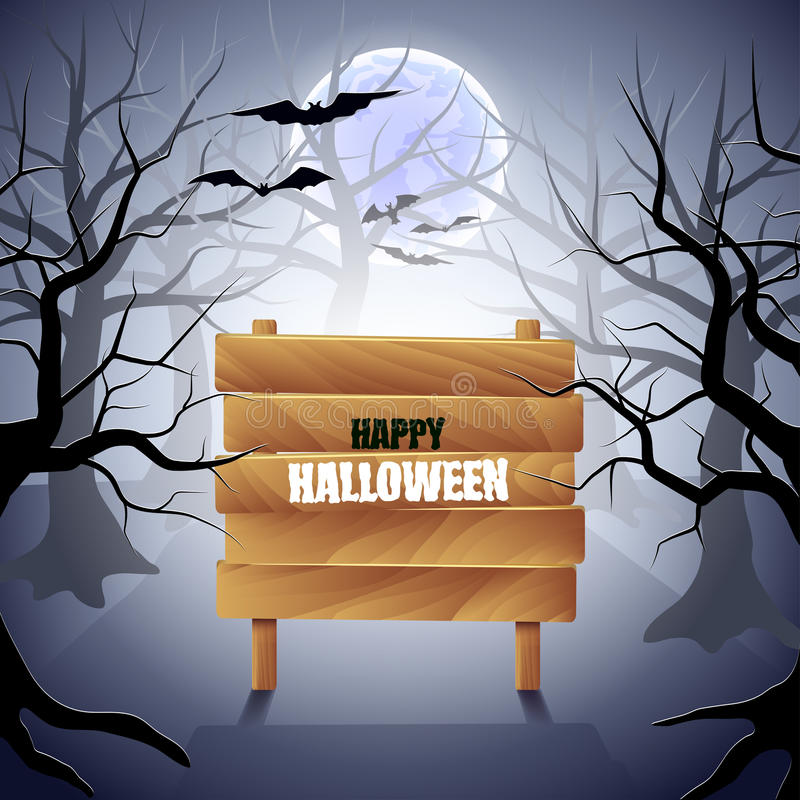 Foggy forest with wooden sign Halloween background vector illustration