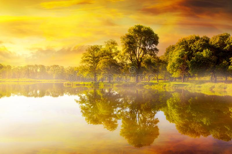 Beautiful Sunrise at Trojan Park in Rainier Oregon. Foggy golden sunrise by the fishing lake at Trojan Park in Rainier Oregon royalty free stock photography