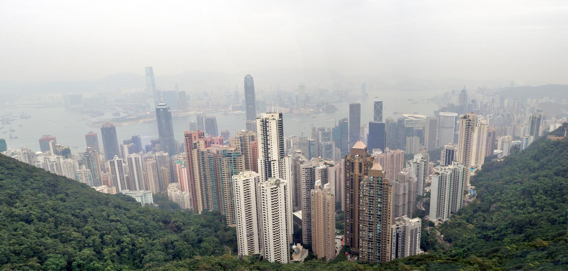 Download Foggy Hong Kong Skyline stock photo. Image of harbor - 23940924