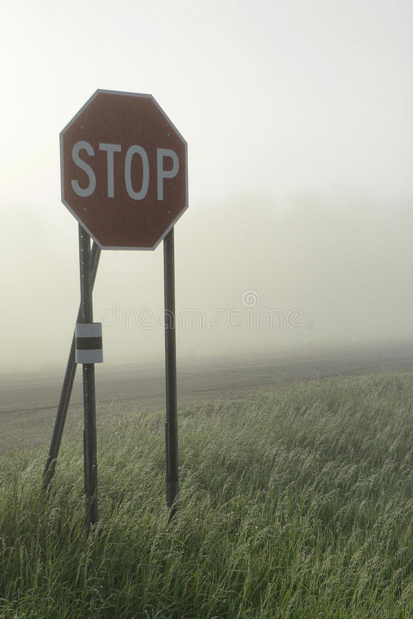 Foggy Intersection royalty free stock photography