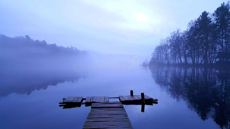 Foggy lake. royalty free stock photo