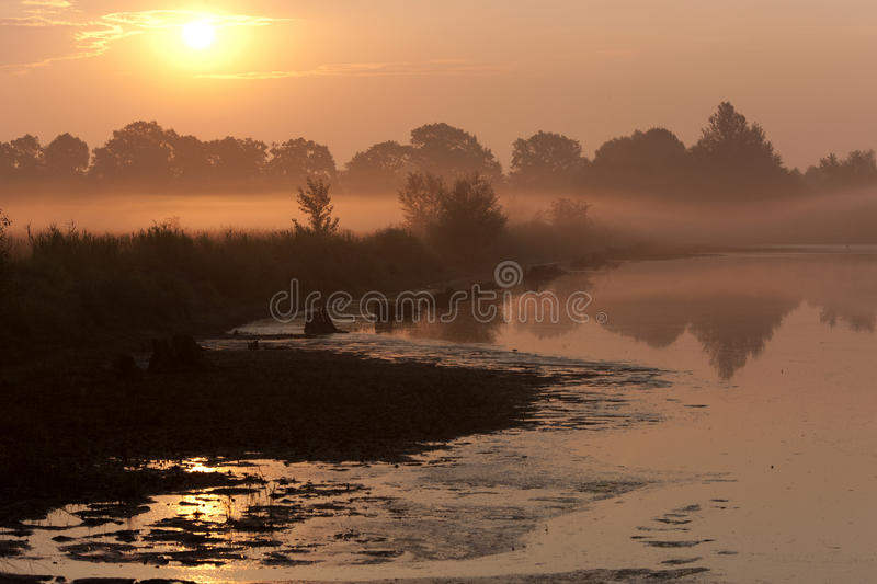 Foggy lake. On morning sun rise royalty free stock photos