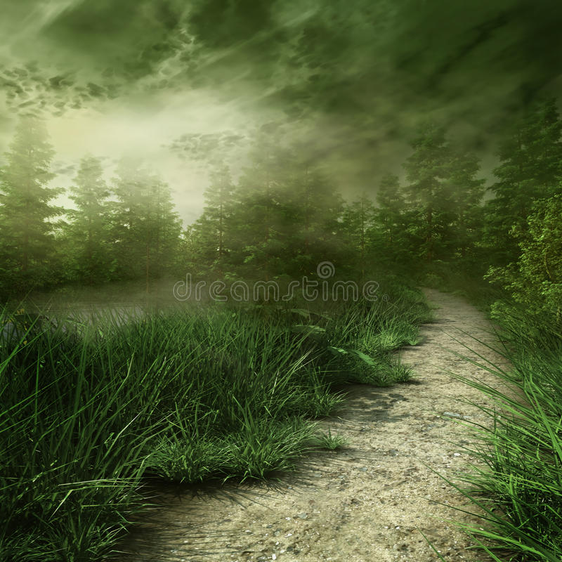 Foggy landscape royalty free illustration