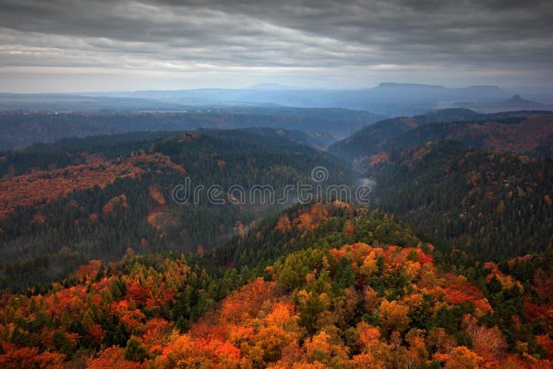 Foggy landscape during autumn. Beautiful landscape with stone, forest and fog. Sunset in Czech national park Ceske Svycarsko. Mist stock photography