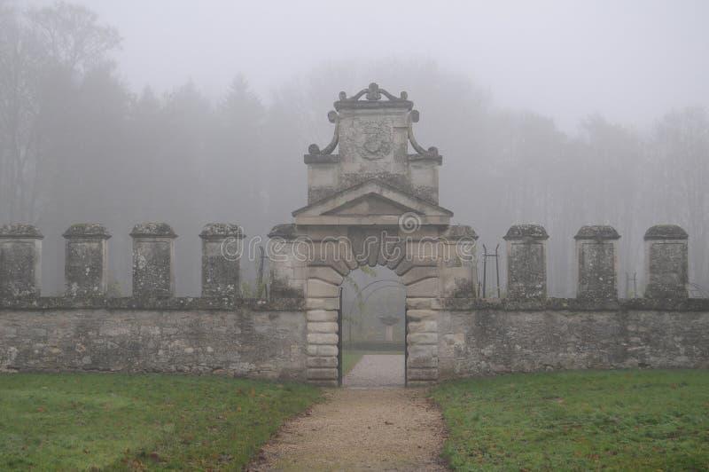 Foggy landscape. Castle in the fog stock images