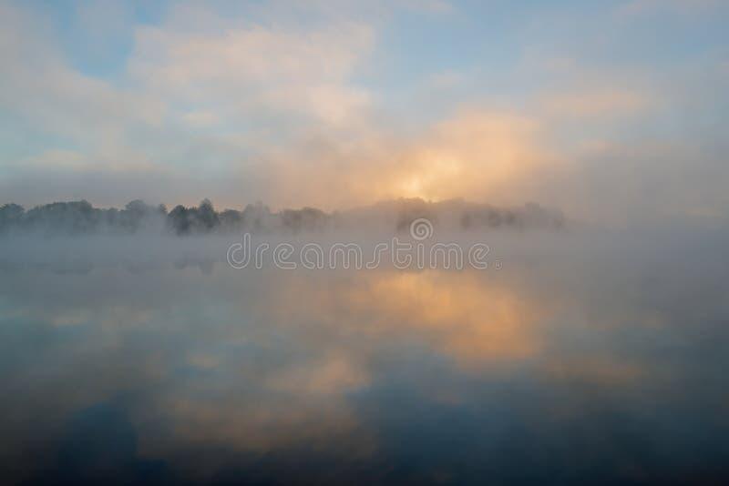 Foggy Whitford Lake at Dawn royalty free stock photography