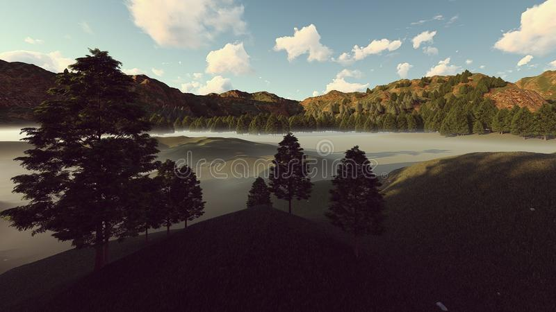 Foggy landscape at the daytime. Silhouette foggy landscape or hills and mountain at the daytime 3d rendering illustration royalty free illustration