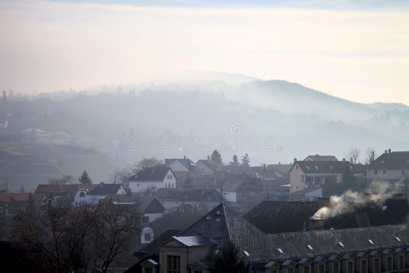 Foggy landscape in Esztergom. Hungary stock image