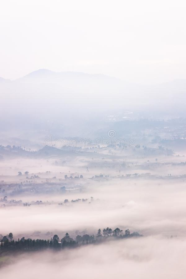 Foggy landscape located in Bandung, Indonesia. LEMBANG, BANDUNG, INDONESIA – DECEMBER 20, 2018 :Foggy landscape located in Bandung, Indonesia stock photography