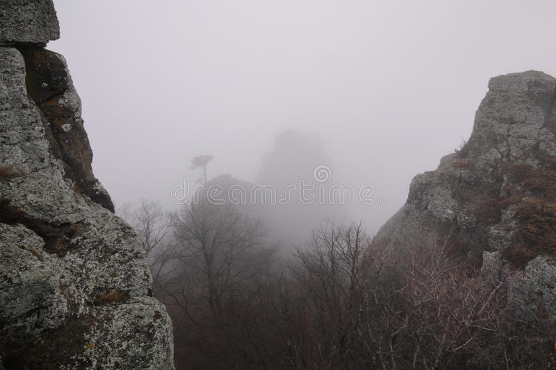 Foggy landscape. In the Valley of Ghosts, Crimea stock images