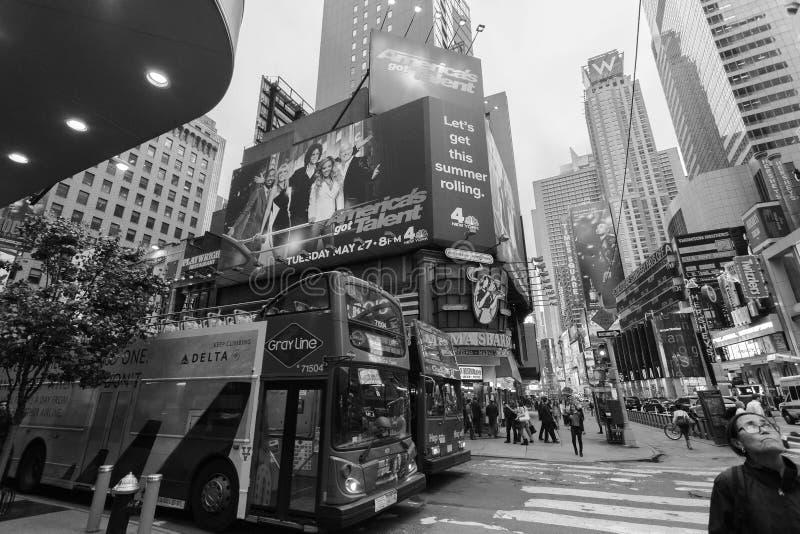Foggy Manhattan - Night traffic nearby Times square, New York, Midtown, Manhattan. New York, Unites States. May 17, 2014 royalty free stock photography