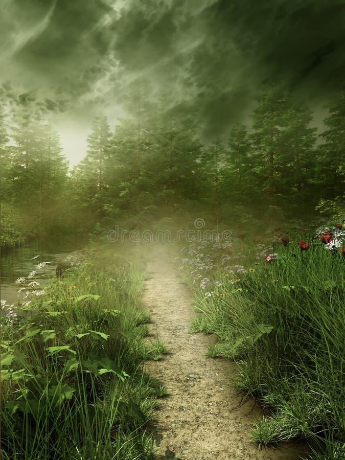 Foggy meadow royalty free illustration