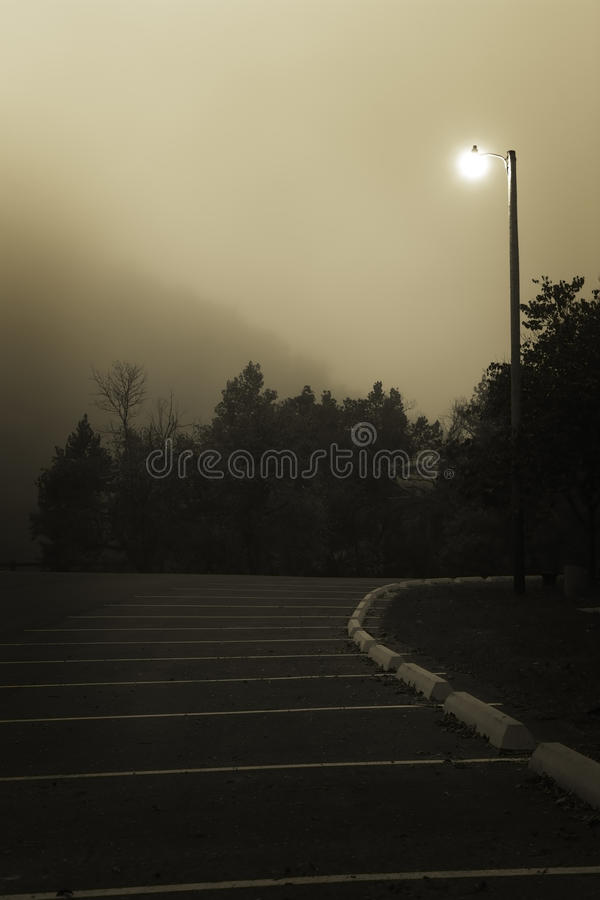 Foggy Midnight Parking Lot Stock Images