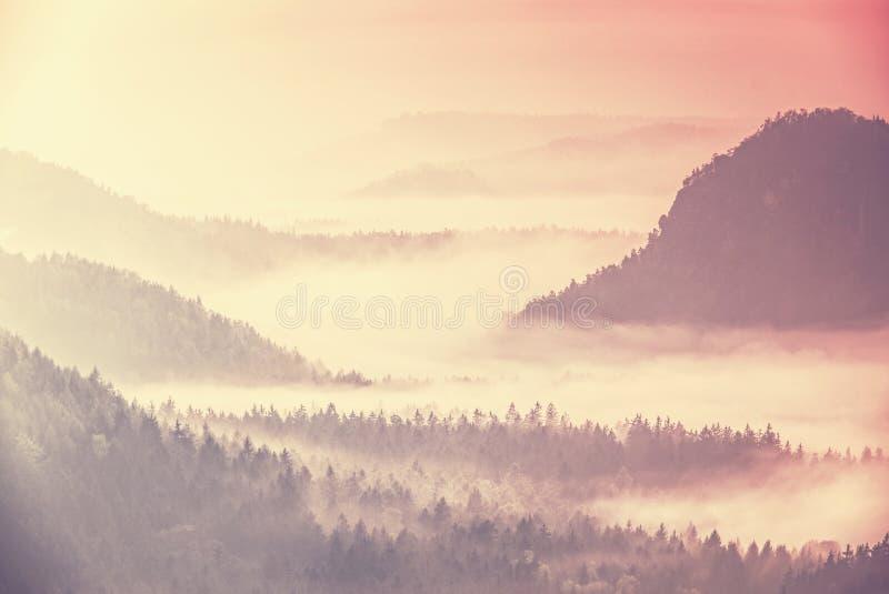 Foggy mist sunrise around the hills top. Mountain forest landscape. Dark forest in haze landscape stock photography
