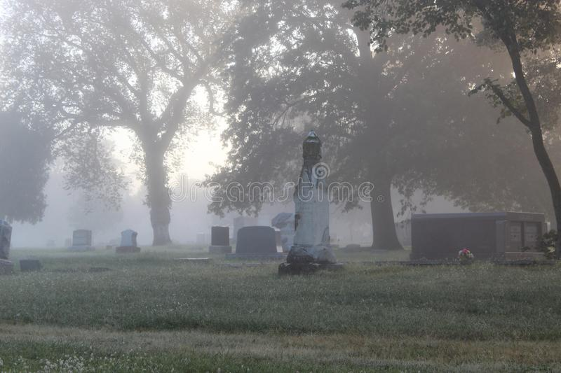 Foggy Tombstones royalty free stock images