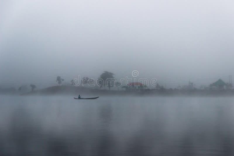 Foggy Morning  at Kaptai Lake in Bangladesh royalty free stock photography
