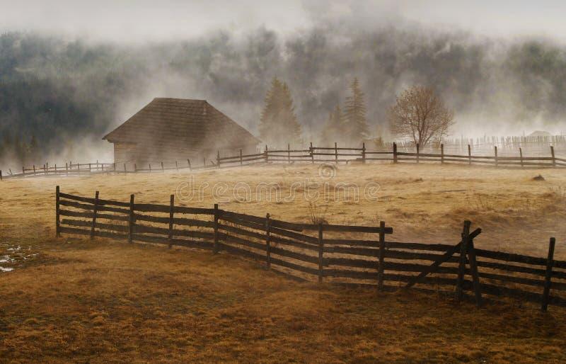 Foggy morning landscape royalty free stock images