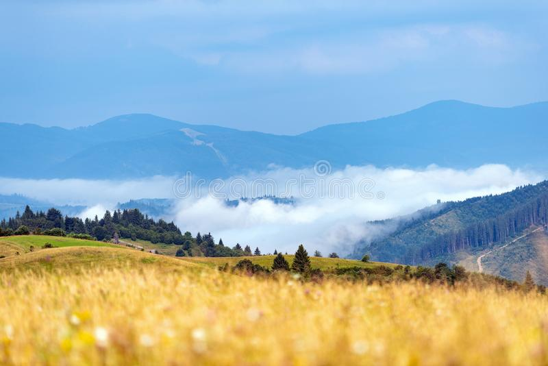 Foggy morning in the mountains royalty free stock photo