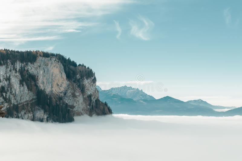 Foggy mountain landscape in Dornbirn, Austria.  royalty free stock photo