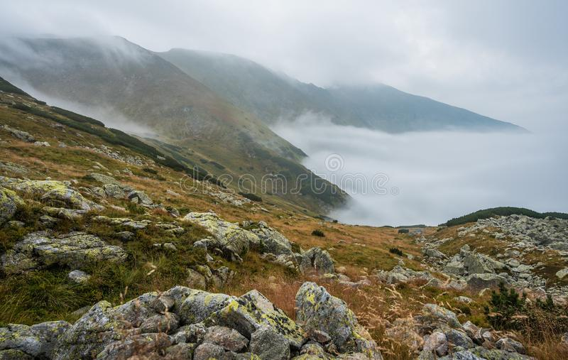 Foggy Mountain Landscape stock photos