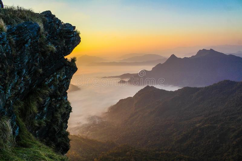 Foggy Mountains at Sunset royalty free stock photos