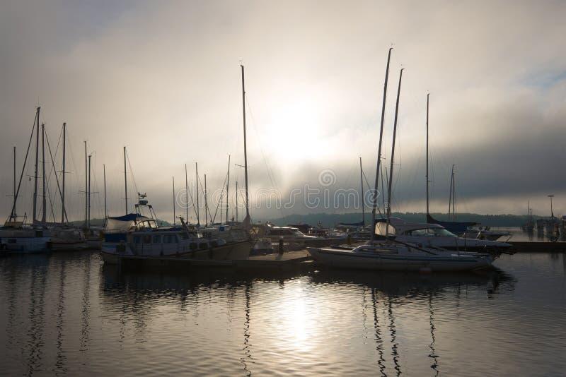 Foggy mystical morning on the Saimaa lake, Lappeenranta. Foggy mystical morning on the Saimaa lake. Lappeenranta stock photos
