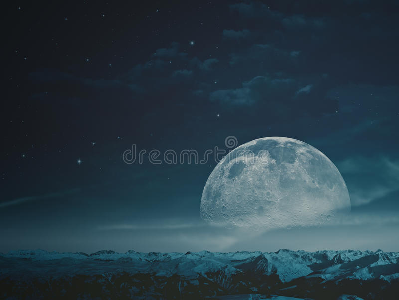 Foggy night with beauty Moon stock photo