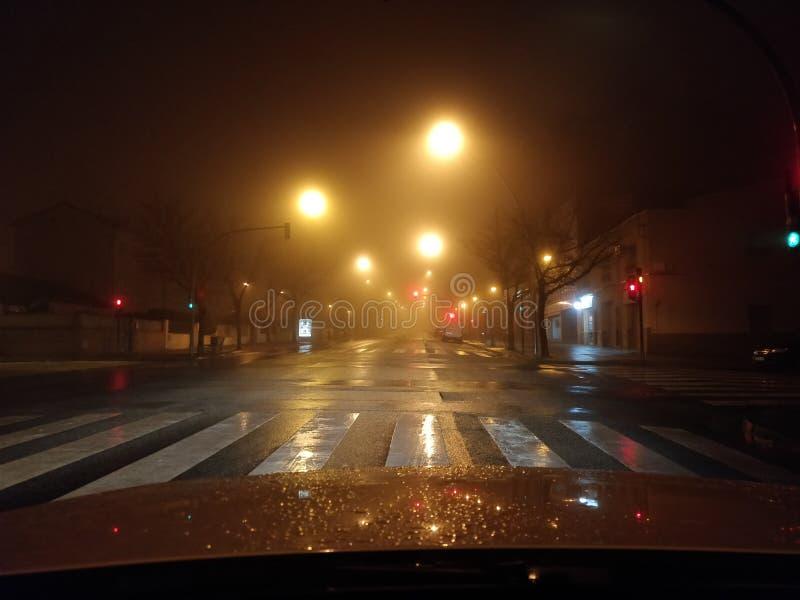 Foggy night with blurred street lights. Illumination, winter, nature, quiet, darkness, urban, mystery, way, horror, season, city, asphalt, town, silent, black royalty free stock photo