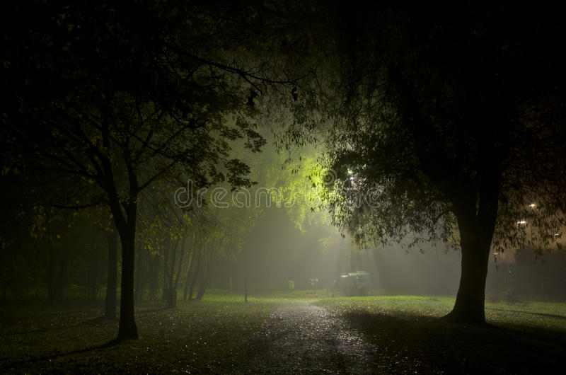 Foggy night it town Manchester England Europe stock photography