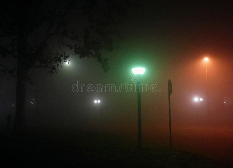 Foggy night royalty free stock photography
