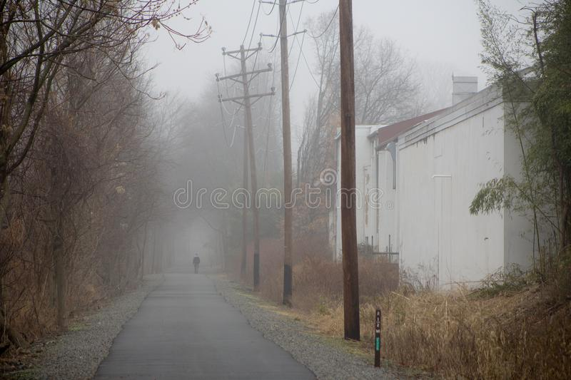 Foggy path in the morning stock images