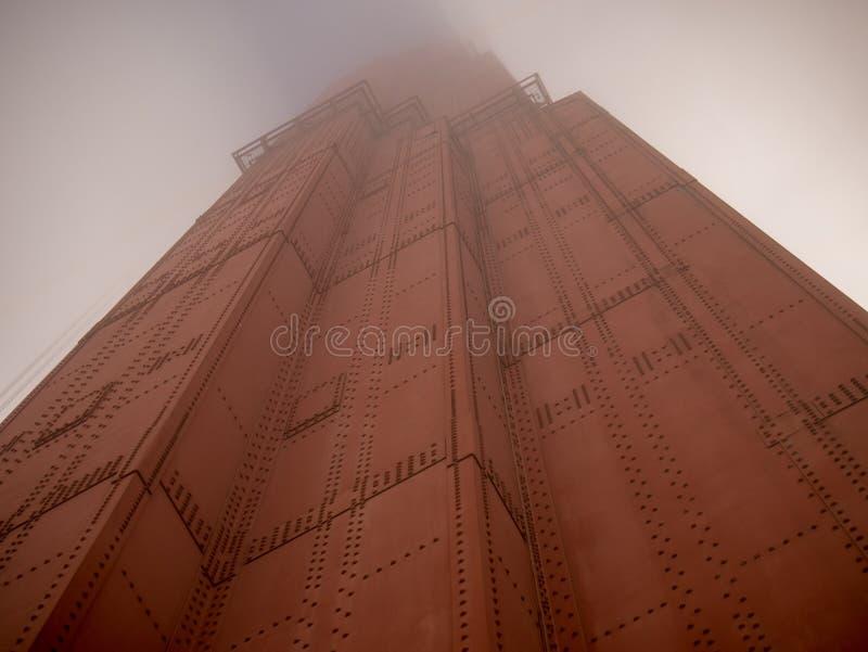 Foggy pillar at the Golden Gate Bridge stock image