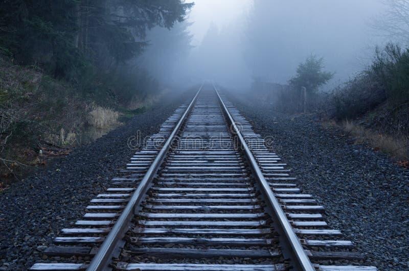 Foggy Railroad Tracks. Railroad tracks fade into the fog on a frosty Oregon morning royalty free stock image