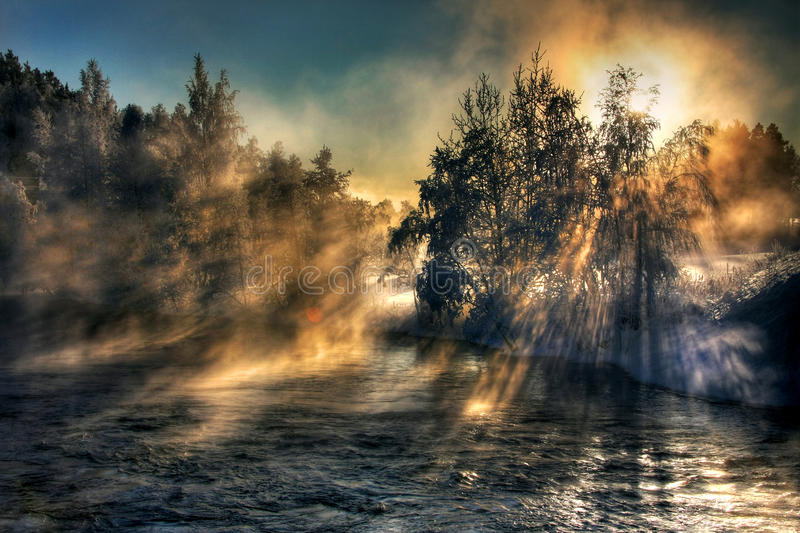 Foggy river royalty free stock photography