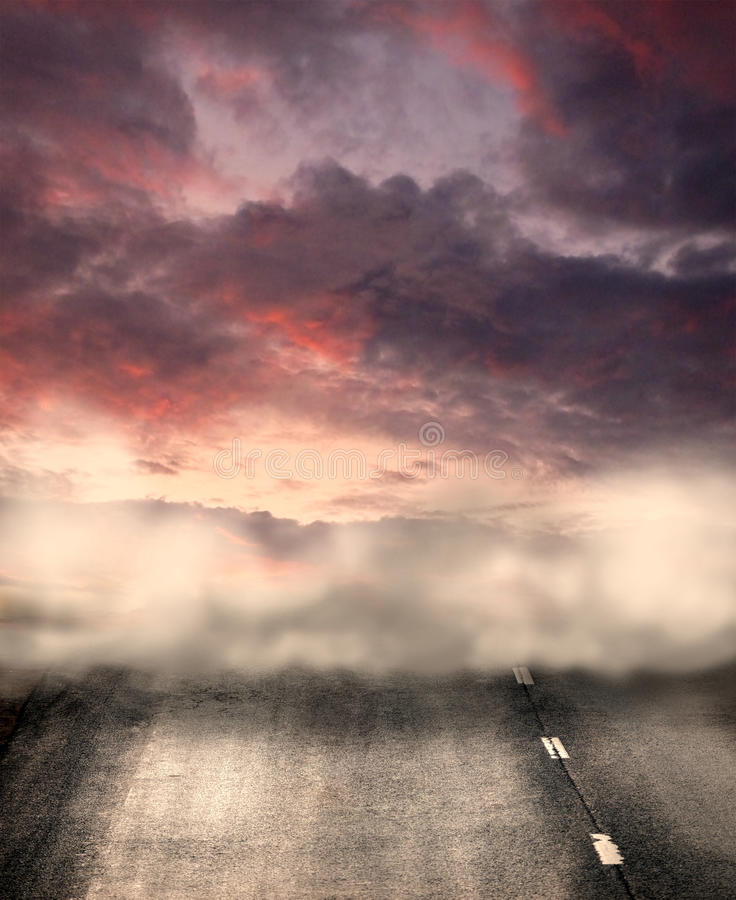 Foggy road vector illustration
